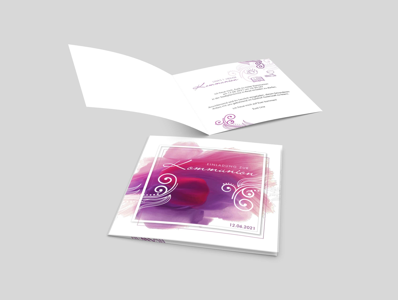 Einladungskarte Kommunion Wasserfarbe Ornament