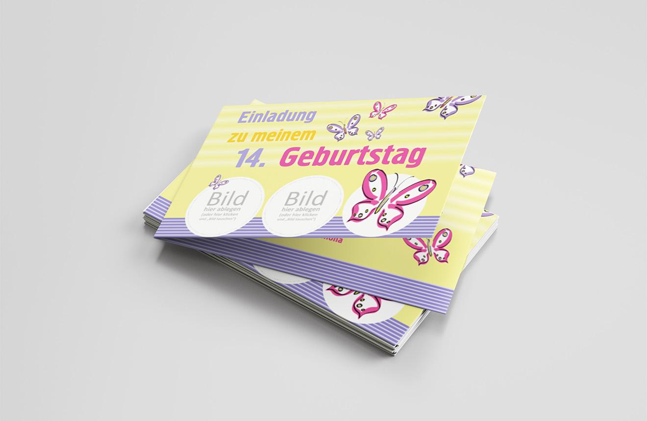 Einladungskarte Kindergeburtstag Bunte Schmetterlinge
