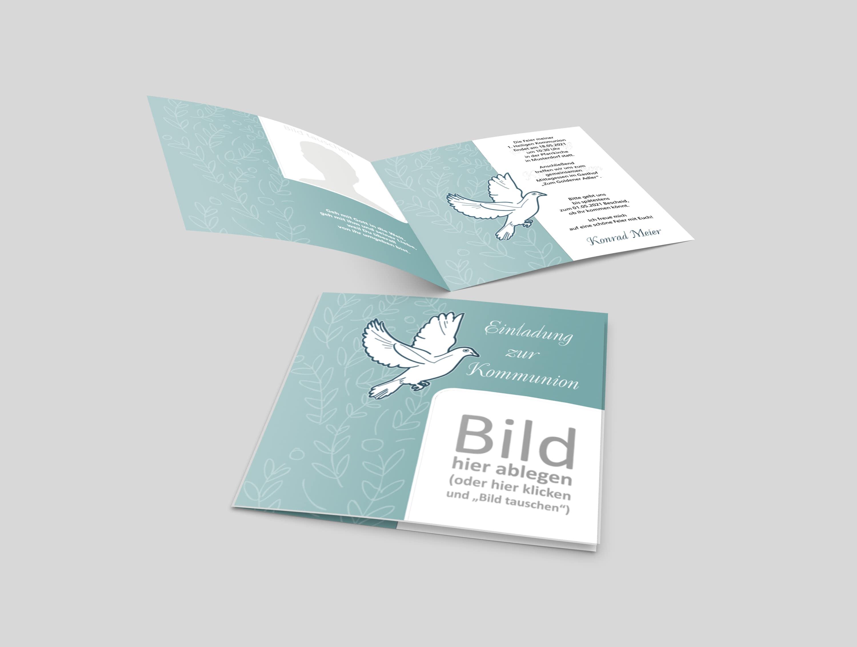 Einladungskarte Kommunion Grafische Taube