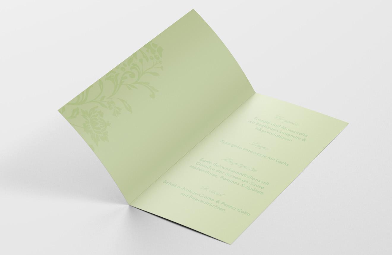 Menükarte Silberhochzeit Blumenornament