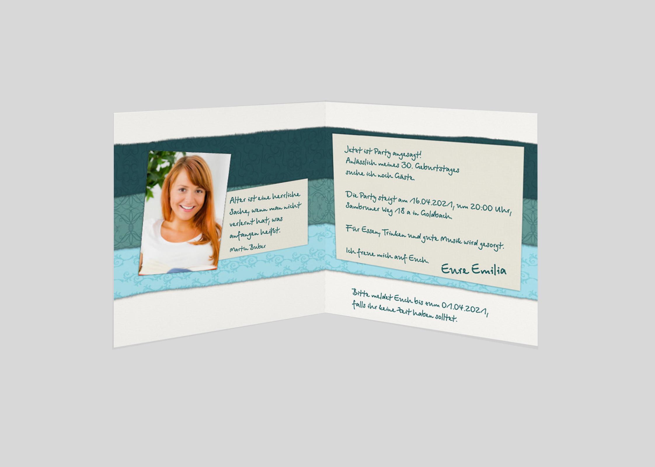 Einladungskarte Geburtstag Streifenmix